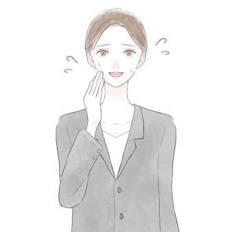 Mulher de terno rindo amigavelmente. sobre fundo branco.