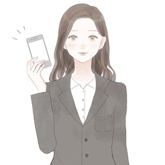 Mulher de terno segurando o smartphone. sobre fundo branco.