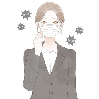 Mulher de terno usando máscara de tecido não tecido. sobre fundo branco.
