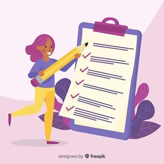 Mulher de trabalho verificando lista de verificação gigante