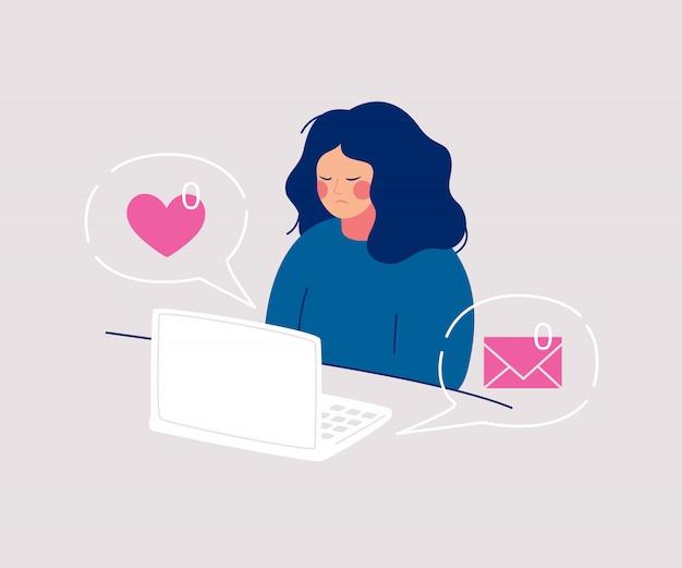 Mulher de tristeza desgrenhada senta-se no computador tendo zero mensagens recebidas e gostos de amigos.