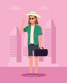 Mulher de turista em pé com chapéu e bolsa no personagem da cidade