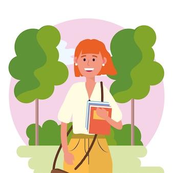 Mulher de universidade com livros e árvores com arbustos