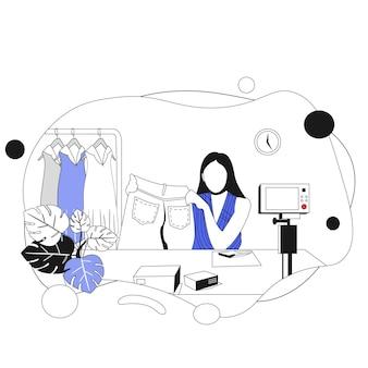 Mulher de vendas online feminina shoppi ng flat vector illustration