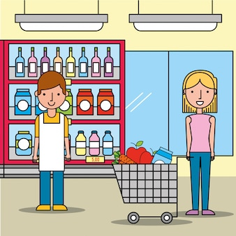 Mulher de vendedor e cliente com carrinho de compras no supermercado