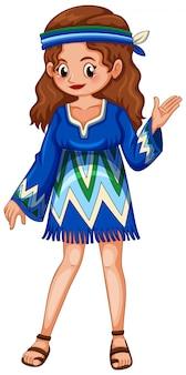 Mulher de vestido azul hippie