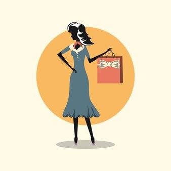 Mulher de vestido elegante, estilo retro de compras