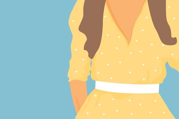 Mulher de vestido roxo.