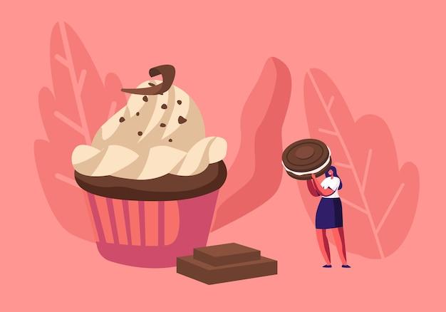 Mulher decora cupcake festivo com chocolate, creme e biscoitos. ilustração plana dos desenhos animados
