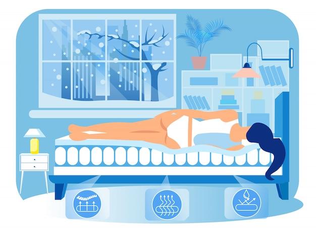 Mulher deitada de lado no colchão ortopédico. vetor