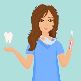 Mulher dentista. conceito de cuidados com os dentes.
