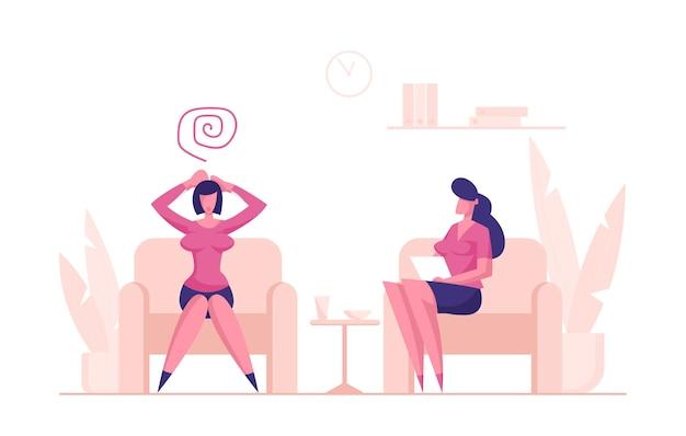 Mulher deprimida cliente sentada no sofá da psicóloga