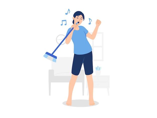Mulher descalça limpando sala cantando dança com vassoura limpeza doméstica ilustração do conceito de limpeza