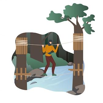 Mulher descansando no personagem plana de parque de aventura