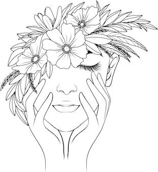 Mulher desenhada à mão e flores