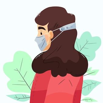 Mulher desenhada à mão plana usando uma alça ajustável para máscara facial