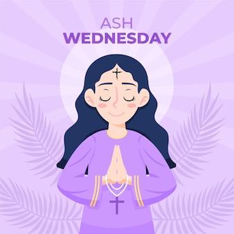 Mulher desenhada à mão rezando na ilustração da quarta-feira de cinzas