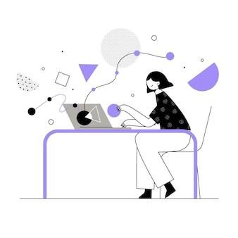 Mulher desenhada à mão, teletrabalho