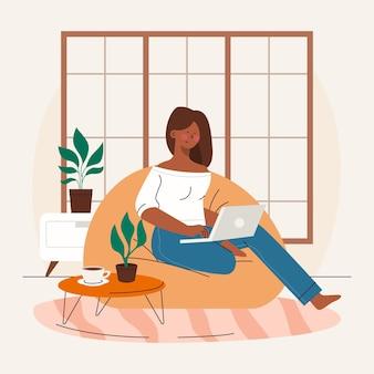 Mulher desenhada à mão trabalhando em casa