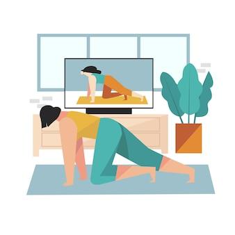 Mulher desenhada fazendo aulas de esporte online ilustradas