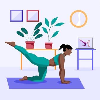 Mulher desenhada fazendo exercícios em casa
