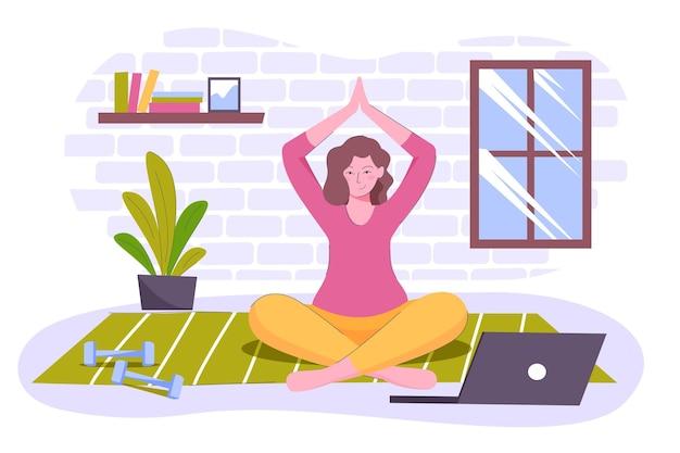 Mulher desenhada meditando em casa