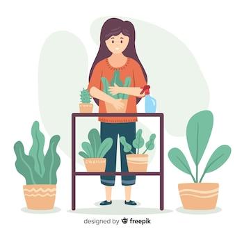 Mulher, desfrutando, jardinagem, apartamento, desenho