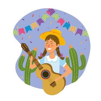 Mulher, desgastar, chapéu, com, guitarra, e, cacto, plantas