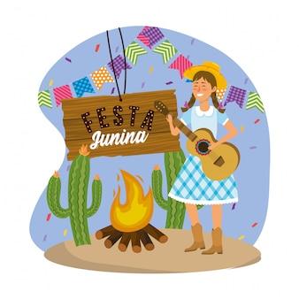 Mulher, desgastar, chapéu, com, guitarra, e, partido