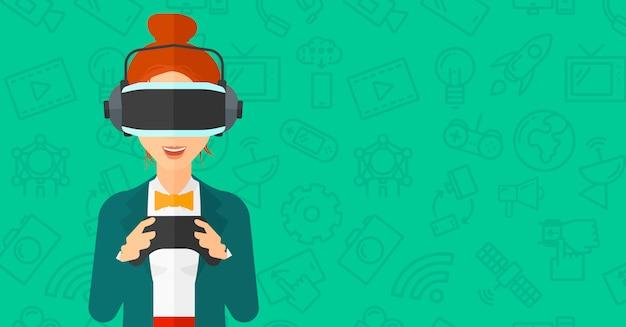 Mulher, desgastar, realidade virtual, headset