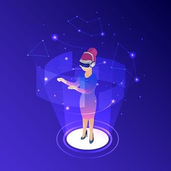 Mulher, desgastar, realidade virtual, óculos