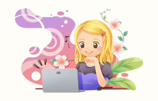 Mulher designer gráfico trabalhando com notebook