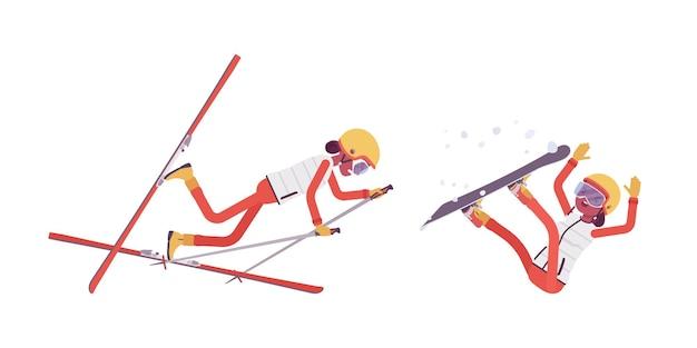 Mulher desportiva caindo em péssima técnica na estação de esqui