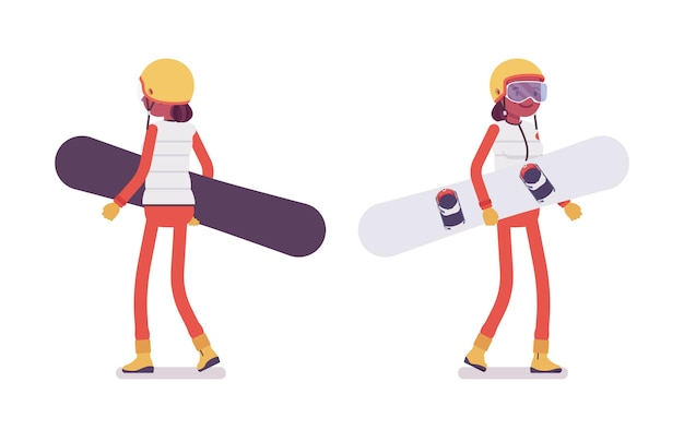 Mulher desportiva carregando equipamento de snowboard