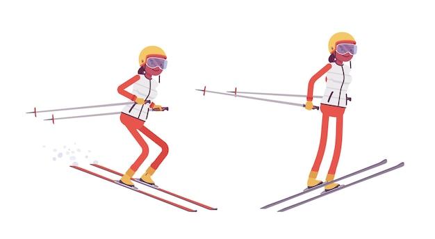 Mulher desportiva em salto de esqui
