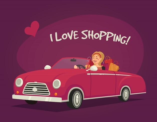 Mulher dirigindo compras