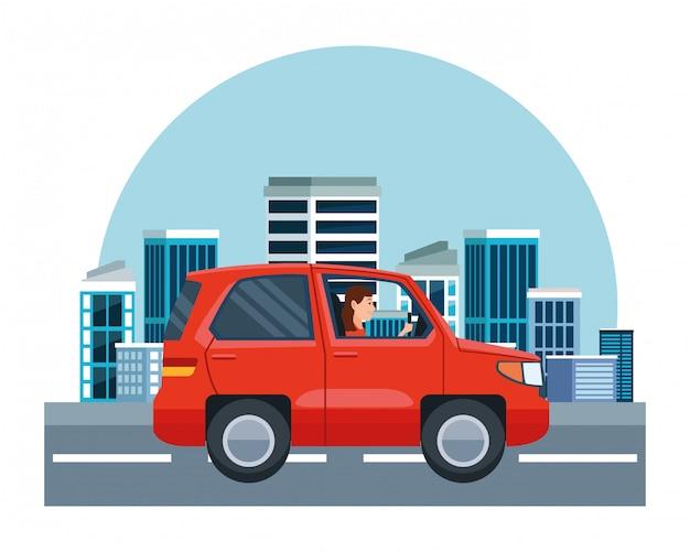 Mulher, dirigindo, suv, veículo, sideview, caricatura