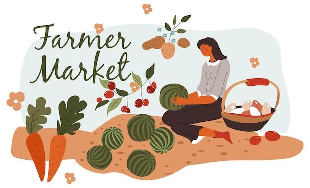 Mulher do mercado de fazendeiros cultivando legumes frescos