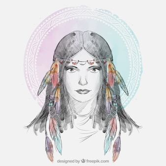 Mulher do país com penas hairband