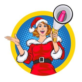 Mulher do papai noel segurando um megafone para anunciar em um círculo no estilo em quadrinhos retro vintage pop art