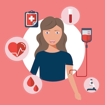 Mulher doa sangue. doação de sangue