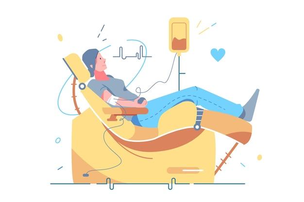 Mulher doando sangue em ilustração vetorial de clínica. voluntário com doação de sangue em estilo simples de hospital. dia mundial do doador de sangue, vida segura e conceito de doação de sangue. isolado em fundo branco
