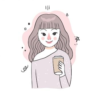 Mulher doce bonito dos desenhos animados e café.