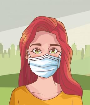 Mulher doente com cena de coronavírus