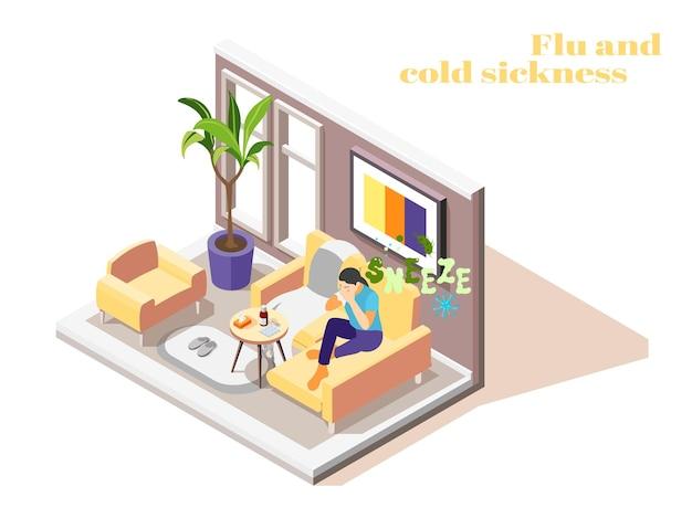 Mulher doente, com gripe, resfriado, sentada no sofá em casa, espirrando com tecido isométrico