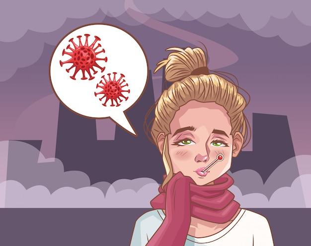 Mulher doente com ilustração de cena de coronavírus