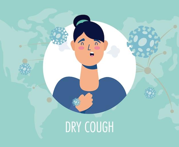Mulher doente com tosse seca covide19 personagem do sintoma