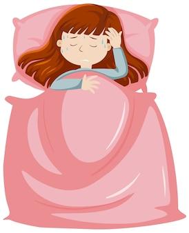 Mulher doente descansando na cama