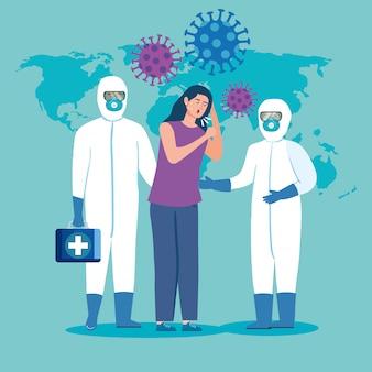 Mulher doente e profissionais de saúde com roupas de proteção