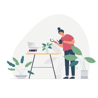 Mulher dona de casa ocupada, personagem de desenho animado olhando suas plantas dentro do jardim